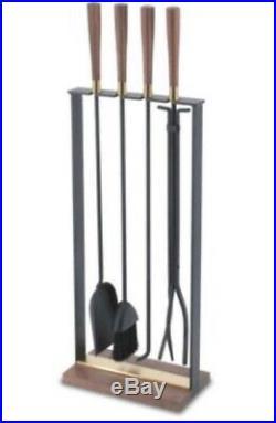 Pilgrim Hampton Brass Walnut Fireplace Tool Set