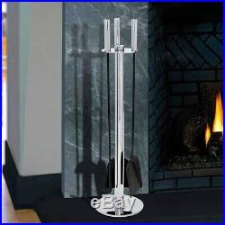 Pilgrim Polished Nickel and Black Panorama Fireplace Tool Set Less Than Perfec