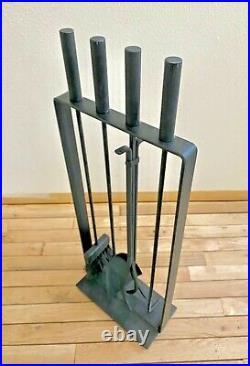 Pilgrim Vtg Mid Century Modern Wrought Iron Cylinder Fireplace Tools Set Nelson