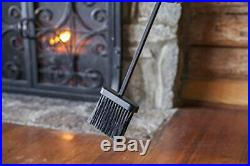 Plow & Hearth 5 Piece Hand Forged Iron Compact Fireplace Tool Set (Black)