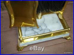 Premium hefty/sturdy/unused BRASS & MARBLE FIREPLACE TOOLS SET 5 heavy-metal