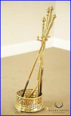 Quality Vintage Set Brass Fireplace Tools