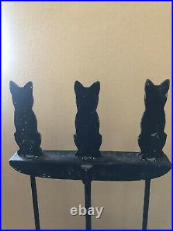 RARE! Antique Vintage c. 1900 Figural Cat Feline Cast Metal Fireplace Tool Set