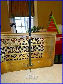 RARE Vintage Brass Fireplace Fender Ex Long 62 Can attach Fireplace Tool Sets