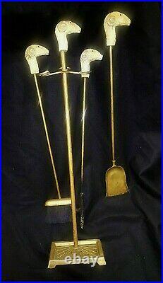 RARE! Vintage Late 1800's English Ram's Head Brass Fireplace Tool Set 4 Pieces
