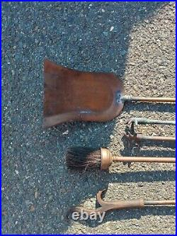 Rare Antique Brass Fireplace Cleaning Tool Set