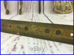 Rare Antique English Solid Brass Fireplace Vintage Tool Set & Wall Mount