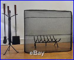 Rare Early George Nelson Fireplace set, Tools, Screen, and Log Holder. C, 1951