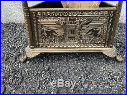 Rare Egyptian Revival 4 Pc Brass Fireplace Tool Set 29 1880