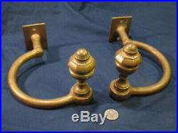 Rare Set Antique Fireplace Jamb Hooks for fireplace tools. Large 1890 Bronze