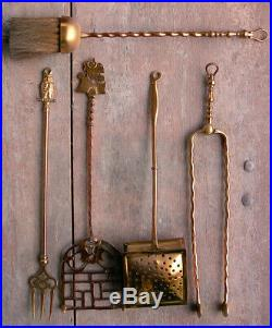 Rare Vintage Brass Copper Fireplace Tool Set with Candlesticks Owl Ship Handles