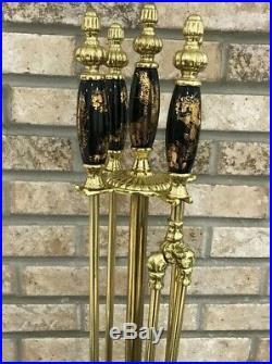 Rare Vintage Brass Fireplace Tool Set Chinese Dragon Koi Fish Porcelain Handles