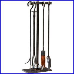Raw Steel Iron Fireplace Tool Set & Stand Industrial Style Hearth