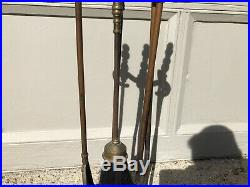 Royal Brass Antique Vintage Fireplace Poker Set, Solid, Tools Shovel Tongs Broom