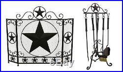 Rustic Brown Western Star Metal Fireplace Screen and 5 Piece Tool Set
