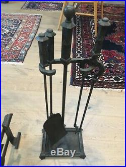 SUPERB Arts and Crafts Hand Hammered Wrought Iron Fireplace Tool Set