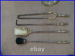 Set Bronze Fireplace Tools Antique French Style 20th century