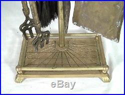 Set Of MID Century Modern Brass Golf Club Fireplace Tools