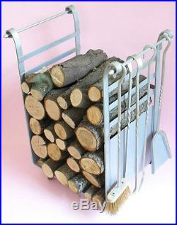 Set Tools for Fireplace Iron Silver with Cart Wood Holders
