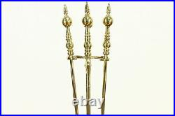 Set of Large Solid Brass Fireplace Hearth Tools, Virginia Metalcrafters #36751