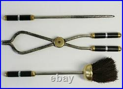 Set of Small Art Deco Fireplace Tools on Stand with Bakelite Detail