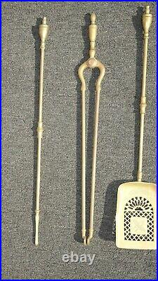 Set of Three Vintage French Country Brass Fireplace Tools Poker Grabber Shovel