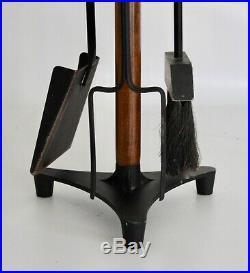 Seymour Vtg Mid Century Danish Modern Walnut Wood Fireplace Tripod Tools Set