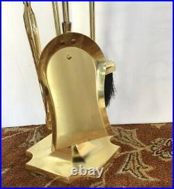 Signed Home Well Cast Iron Gold Gild Fireplace Tool Set 5 Pcs. 12 lbs