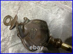 Small Vintage Fireplace Tool Set Brass Pixie Figure Under Mushroom England Stand