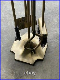 Solid Brass / Bronze  Fireplace (4)tool Set, Nice