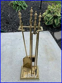 Solid Brass Fireplace 4 Piece Footed Tool Set With Lady