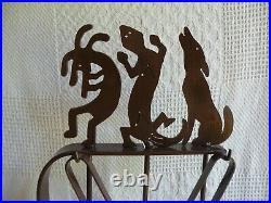 Southwest Fireplace Tool Set / Tongs, Shovel, Lizard Poker, Dog Broom, Stand