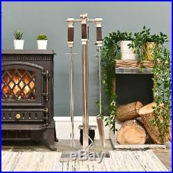 Stainless Steel and Wood Modern Companion Set Contemporary Fireplace Tool Set