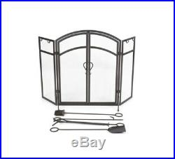 Style Selections, Steel 3-Panel Arched Twin Fireplace Screen and Tool Set, Black