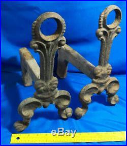 True Antique HEAVY Cast Iron Andiron Art Deco Nouveau Pair Set Fireplace Tool