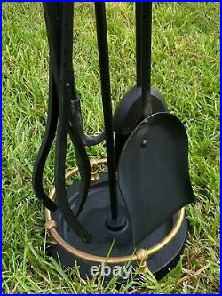 UNUSED 28 Brass & Black Vtg PILGRIM Fireplace Hearth 4 PC Fire Heavy Tool Set
