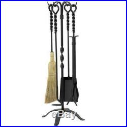 UniFlame 5-Pc Black Wrought Iron Fireplace Tool Set With Ring And Twist Handles