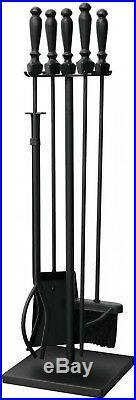 UniFlame Fireplace Tool Set Black 5 Piece Poker Brush Log Lifter Shovel Stand