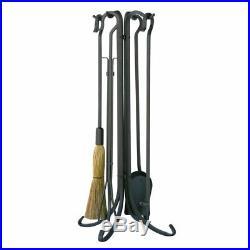Uniflame 5-Piece Iron Fireplace Tool Set Crook Handles, 1