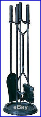 Uniflame Black 5-pc Set Fireplace Tools with Ring-Shaped Base F-1070