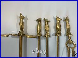 Unique Vintage Mid Century Five Piece Brass Fox Head Fireplace Tool Set Mint