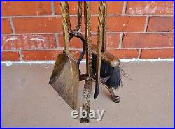 Used Custom-Made Textured Brass-Finish Hand-Wrought IRON Fireplace Tool Set