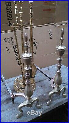 VINTAGE 42w BRASS FIRPLACE FENDER SET 22T FEDERAL ANDIRONS & 28 HEARTH TOOLS