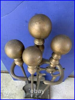 VINTAGE BRASS FIREPLACE TOOL SET WithBALL HANDLE USED
