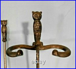 VINTAGE SET OF EARLY 20th CENTURY OWL FIREPLACE TOOLS AND STAND