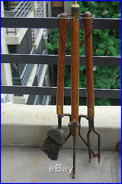 Vintage Wrought Iron Wood Brass Rustic Ranch Style Fireplace Tools Set