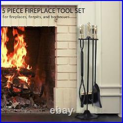 VIVOHOME 5pcs Hearth Fireplace Firepit Poker Shovel Tong Brush Holder Tools Set