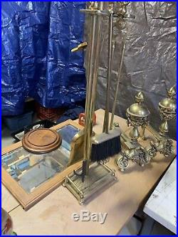VTG Antique Nautical Art Nouveau Brass Ornate Fireplace Stand Tools With Andirons