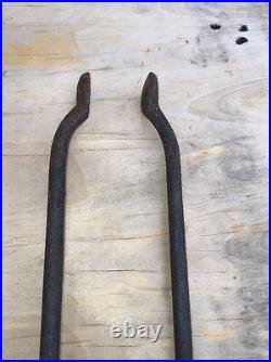 VTG Antique SOLID BRASS & IRON Fireplace Tool SET 4 POKER SHOVEL TONGS STAND