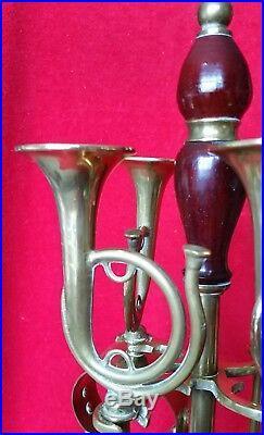 VTG Brass Fireplace Tool Set FRENCH HORNS Hand Crafted Custom Wood Set England